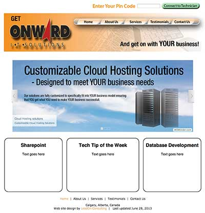 image of Onward IT Solutions web site designed by Sheldon Ball of LeadOn Consulting